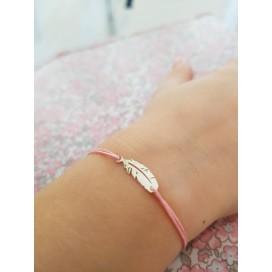 Bracelet cordon mini plume argent enfant
