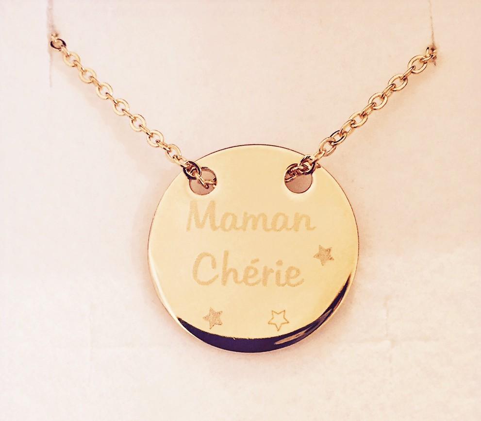 Médaille gravée Maman Chérie