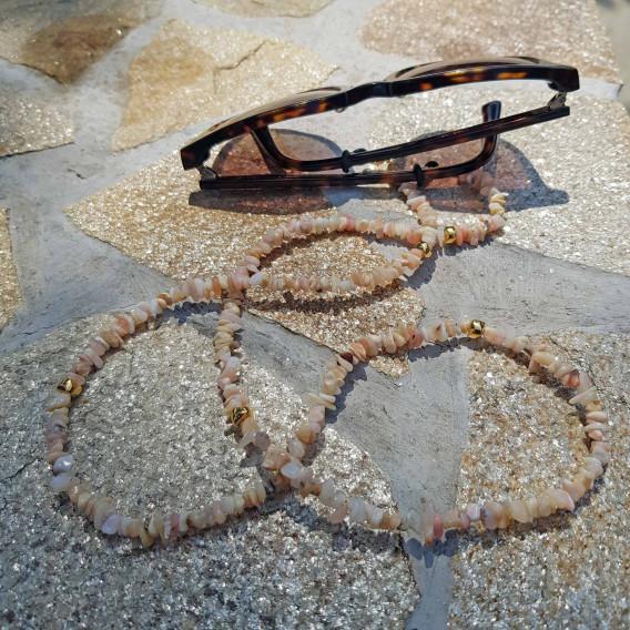 Chaine de lunette coquillage naturel