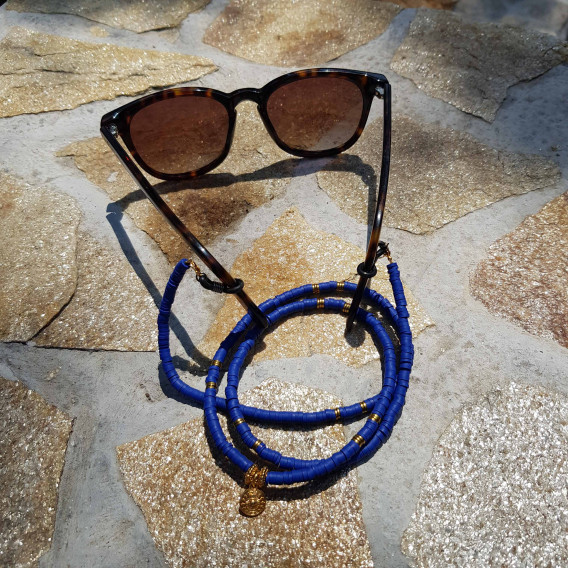 Chaine de lunette perle Heishi Bleue Cobalt