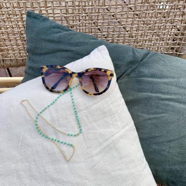 Chaine de lunette pierre couleur et chaine