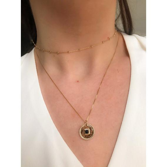 Colllier Médaille Onyx carré