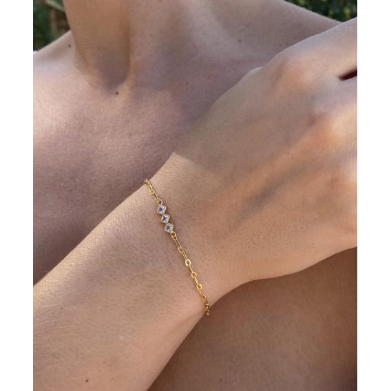 Bracelet chaine 3 strass Aude