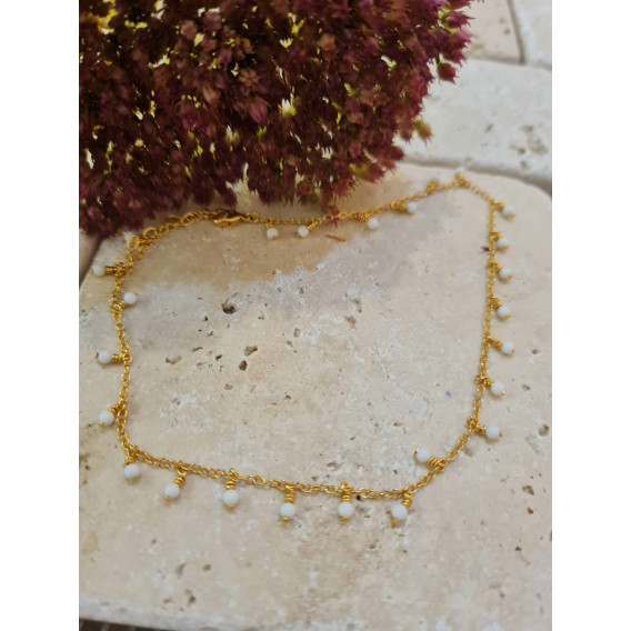 Chaine cheville perles blanches