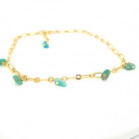 Chaine cheville perles Amazonite verte