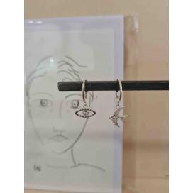 Boucle d'oreille Créole Pop Strass Blanc Plaqué Argent