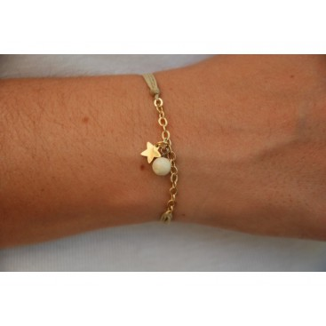Bracelet cordon chaine pampille