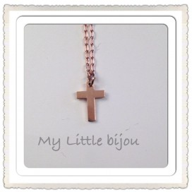 Collier Croix Or Rose - Collection PINK