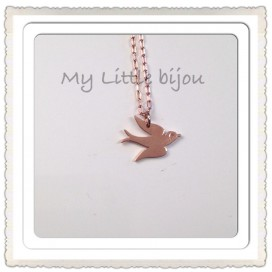 Collier Mini Oiseau Or Rose - Collection PINK