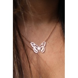 Collier Papillon Or Rose - Collection PINK