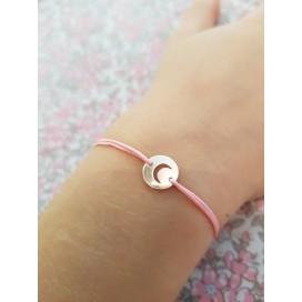 Bracelet cordon mini lune argent enfant