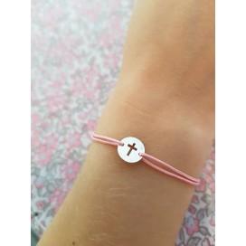 Bracelet cordon mini croix argent enfant