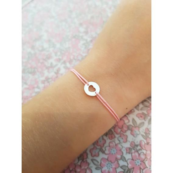 Bracelet cordon mini coeur argent enfant